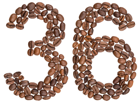 Arabic numeral 36, thirty six, from coffee beans, isolated on white background