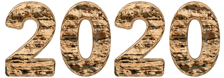 Numeral 2020 with an abstract surface from a natural limestone, isolated on white background, 3d illustration 写真素材