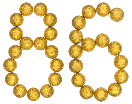 Numeral 86, eighty six, from decorative balls, isolated on white background 版權商用圖片