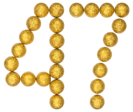 Numeral 47, forty seven, from decorative balls, isolated on white background