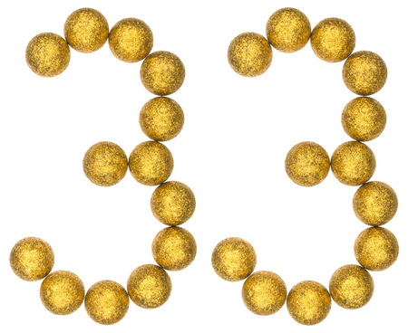 Numeral 33, thirty three, from decorative balls, isolated on white background Stock Photo