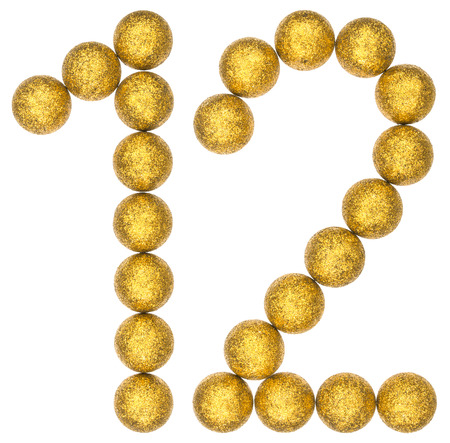 Numeral 12, twelve, from decorative balls, isolated on white background