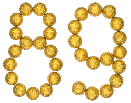 Numeral 89, eighty nine, from decorative balls, isolated on white background
