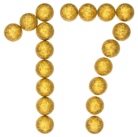 Numeral 17, seventeen, from decorative balls, isolated on white background Stock Photo