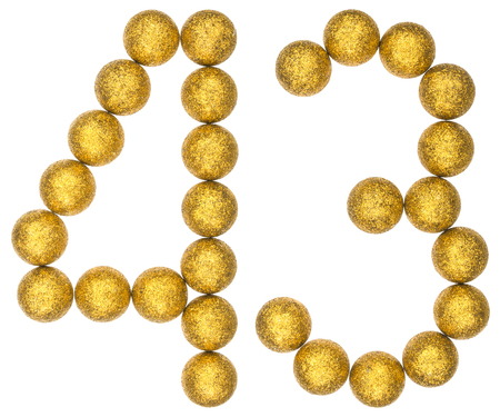 Numeral 43, forty three, from decorative balls, isolated on white background