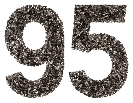 Arabic numeral 95, ninety five, from black a natural charcoal, isolated on white background