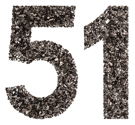 Arabic numeral 51, fifty one, from black a natural charcoal, isolated on white background