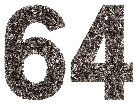 Arabic numeral 64, sixty four, from black a natural charcoal, isolated on white background