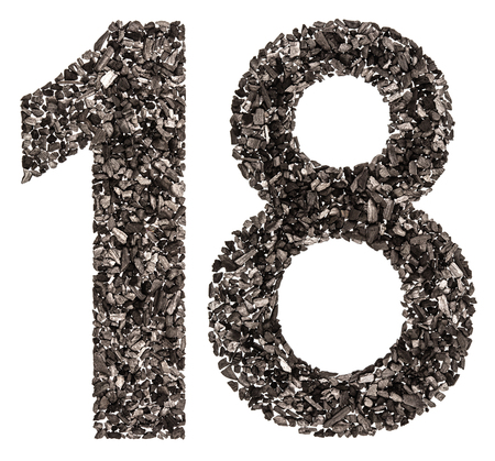 Arabic numeral 18, eighteen, from black a natural charcoal, isolated on white background