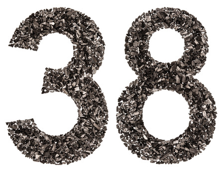 Arabic numeral 38, thirty eight, from black a natural charcoal, isolated on white background Stock Photo