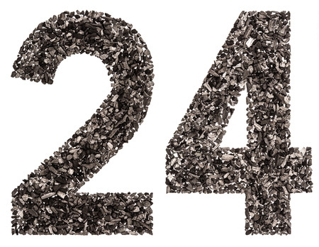 Arabic numeral 24, twenty four, from black a natural charcoal, isolated on white background