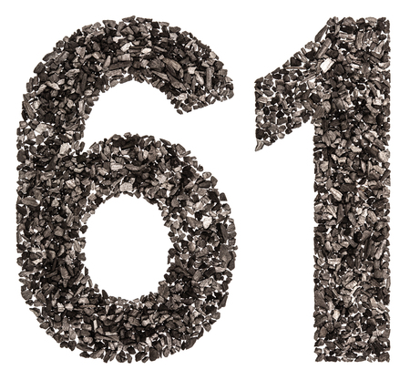 Arabic numeral 61, sixty one, from black a natural charcoal, isolated on white background