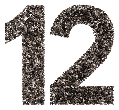 Arabic numeral 12, twelve, from black a natural charcoal, isolated on white background Фото со стока