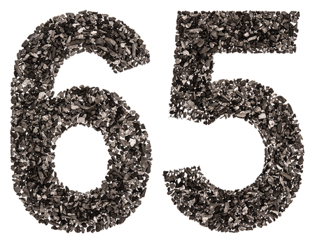 Arabic numeral 65, sixty five, from black a natural charcoal, isolated on white background Stock Photo