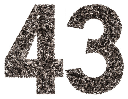 Arabic numeral 43, forty three, from black a natural charcoal, isolated on white background
