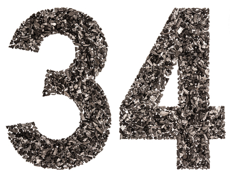 Arabic numeral 34, thirty four, from black a natural charcoal, isolated on white background