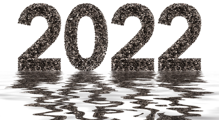 Numeral 2022 from black a natural charcoal, isolated on white background, reflection in water Stock Photo