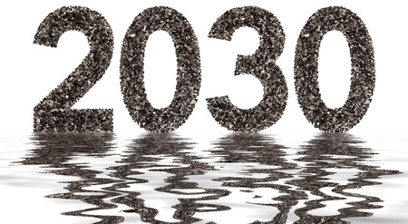 Numeral 2030 from black a natural charcoal, isolated on white background, reflection in water Stock Photo
