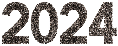 Numeral 2024 from black a natural charcoal, isolated on white background Stock Photo