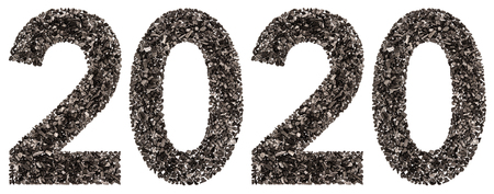 Numeral 2020 from black a natural charcoal, isolated on white background