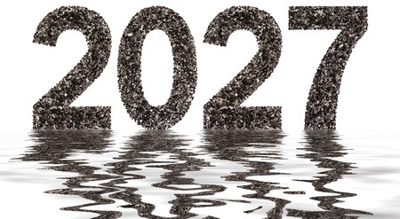Numeral 2027 from black a natural charcoal, isolated on white background, reflection in water Stock Photo