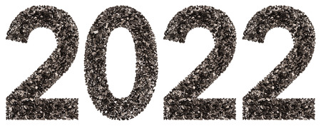 Numeral 2022 from black a natural charcoal, isolated on white background