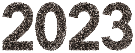 Numeral 2023 from black a natural charcoal, isolated on white background Stock Photo