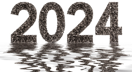 Numeral 2024 from black a natural charcoal, isolated on white background, reflection in water