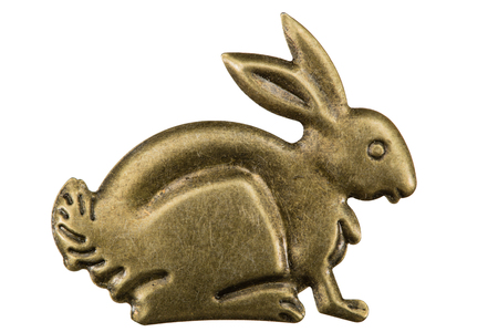 Filigree in the form of a profile of a hare, decorative element for manual work, isolated on white, with clipping path background Stock Photo