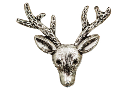 Filigree in the form of a deers head, decorative element for manual work, isolated on white, with clipping path
