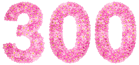 Arabic numeral 300, three hundred, from pink forget-me-not flowers, isolated on white background