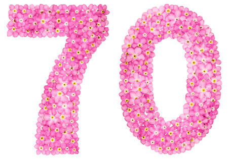Arabic numeral 70, seventy, from pink forget-me-not flowers, isolated on white background Фото со стока