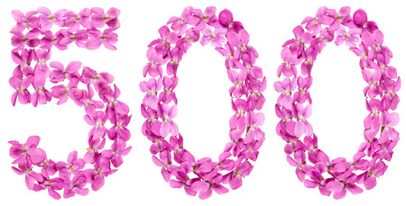 Arabic numeral 500, five hundred, from flowers of viola, isolated on white background Stock Photo