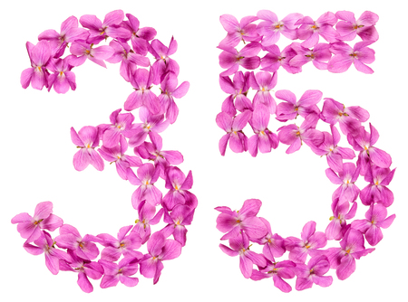 Arabic numeral 35, thirty five, from flowers of viola, isolated on white background