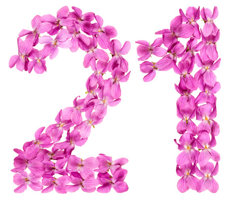 Arabic numeral 21, twenty one, from flowers of viola, isolated on white background