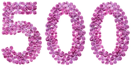 Arabic numeral 500, five hundred, from flowers of lilac, isolated on white background
