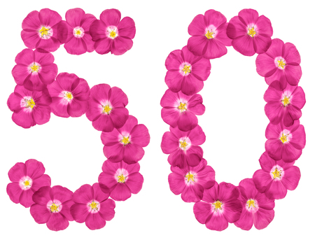 Arabic numeral 50, fifty, from pink flowers of flax, isolated on white background Stock Photo