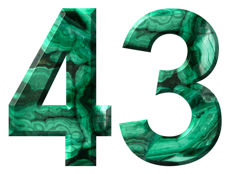 Arabic numeral 43, forty three, from natural green malachite, isolated on white background Stock Photo
