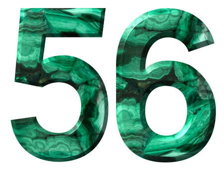 Arabic numeral 56, fifty six, from natural green malachite, isolated on white background