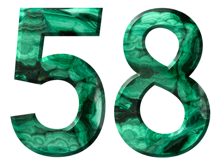 Arabic numeral 58, fifty eight, from natural green malachite, isolated on white background