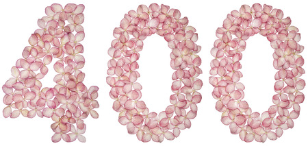 Arabic numeral 400, four hundred, from flowers of hydrangea, isolated on white background Stock Photo
