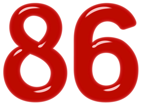 Numeral 86, eighty six, isolated on white background, 3d render