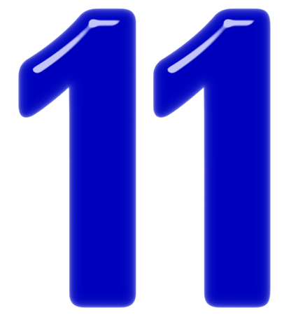 Numeral 11, eleven, isolated on white background, 3d render Stock Photo