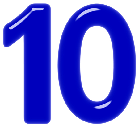 Numeral 10, ten, isolated on white background, 3d render