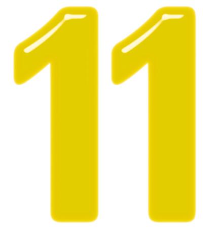 Ziffer 11, elf, isoliert auf weißem Hintergrund, 3D-Render