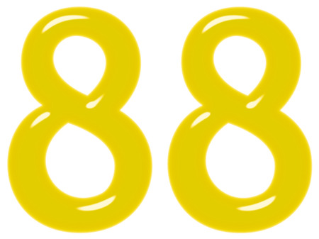 Numeral 88, eighty eight, isolated on white background, 3d render