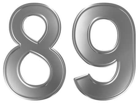 Numeral 89, eighty nine, isolated on white background, 3d render