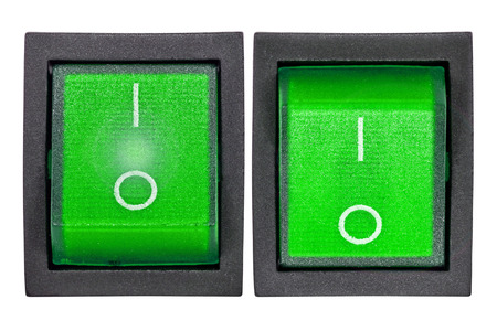 Green power switch, isolated on white background, with clipping path