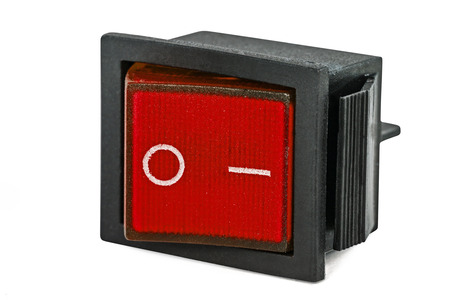 Red power switch, isolated on white background, with clipping path Stock Photo