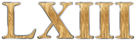 Roman numeral LXIII, tres et sexaginta, 63, sixty three, isolated on white background, 3d render 스톡 콘텐츠